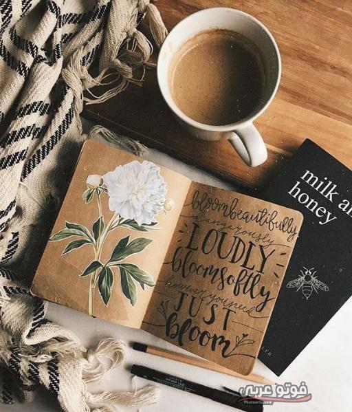 خلفية كتب وقهوة كرتوني